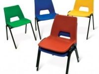 CHAIR, PUPIL, METAL FRAME, POLYPROPYLENE SEAT AND BACK, ONE PIECE, STACKING