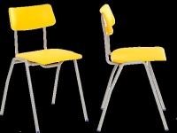 CHAIR, PUPIL, METAL FRAME, POLYPROPYLENE SEAT AND BACK, TWO PIECE, STACKING