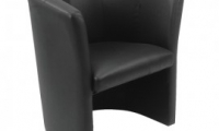 Tub chairs, black leather finish